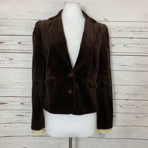 Juicy Couture Size 4 Brown Velour Blazer